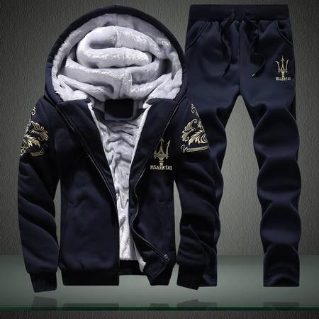GEEDO 2016新款冬季加绒卫衣男青少年韩版运动服外套男加厚运动套装男