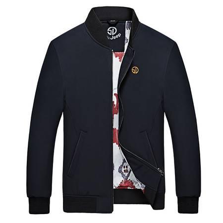 森林吉普 秋季新款上新纯色修身立领薄款夹克男百搭外穿男士上衣外套