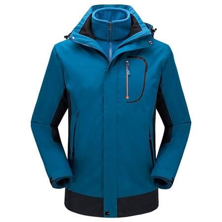 森林吉普 户外休闲男女三合一两件套抓绒冲锋衣冬季情侣款防风保暖外套套装