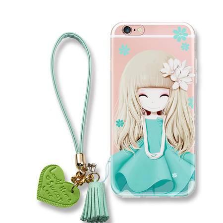 AMKE 花花姑娘苹果6S手机壳iphone6plus手机壳软硅胶套防摔日韩挂绳女款潮