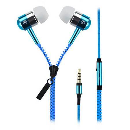佰通 创意拉链金属耳机 入耳式 通用通话手机 带话筒线控立体声 耳塞