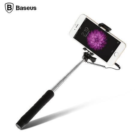 倍思 无需蓝牙手机自拍杆神器便携迷你线控带后视镜智能手机通用