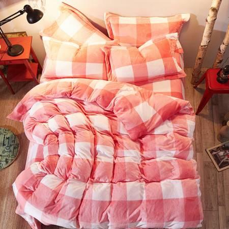 爱丽奢 床品套件 舒柔亲肤云貂绒活性印花四件套 被套:200*230