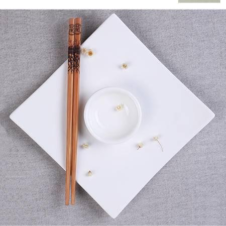 味老大炭化消毒竹筷家用中国风印花竹木筷子饭店酒店厨房用筷