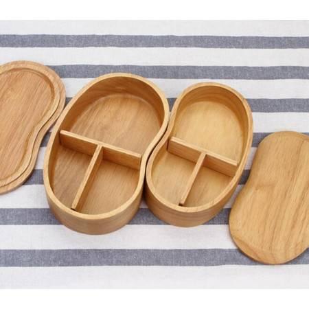 长颈鹿  日式木质饭盒便当盒分格整木学生便携餐盒干果盒野餐盒