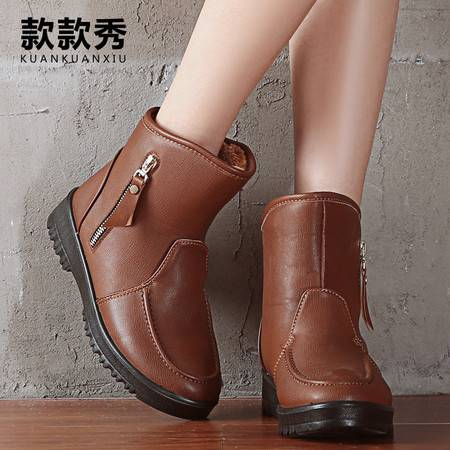 款款秀 秋冬季妈妈短靴加绒女靴皮鞋女士皮靴子高跟棉靴棉鞋雪地靴马丁靴