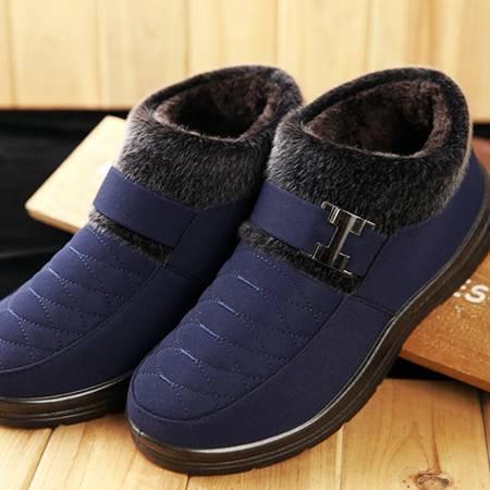 款款秀 中老年棉鞋男老人大码棉靴冬季老北京布鞋加厚加绒防滑保暖父亲鞋