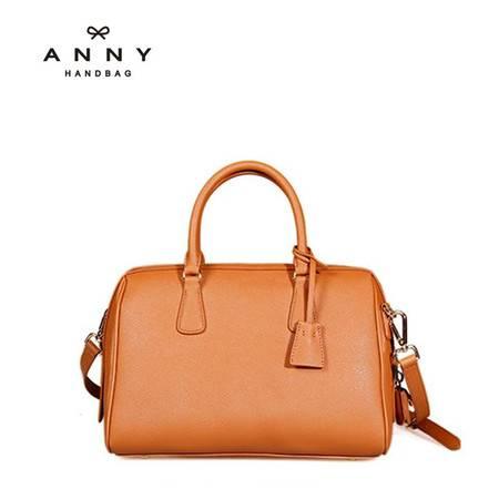 ANNY 2016牛皮单肩手提斜挎圆筒女包时尚