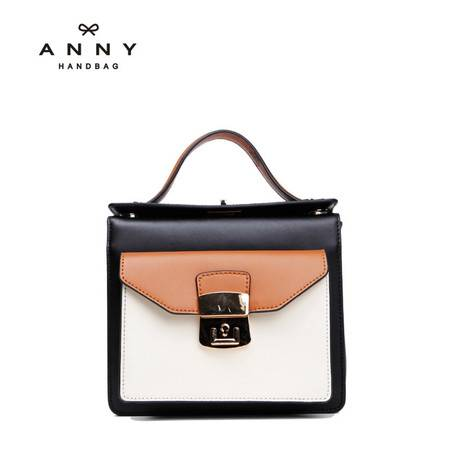 ANNY 真皮复古包撞色拼接牛皮包手提包简约单肩包