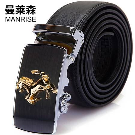 曼莱森/MANRISE 正品男士真皮皮带韩版休闲潮流牛皮青年腰带自动扣商务裤带浮雕款