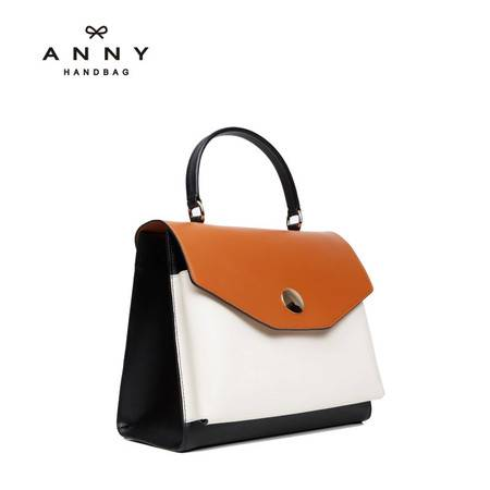 ANNY 2016新品真皮女士手提包牛皮撞色单肩斜跨包