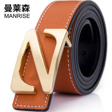 曼莱森/MANRISE Z字平滑扣皮带 男式休闲商务皮带 多色可选