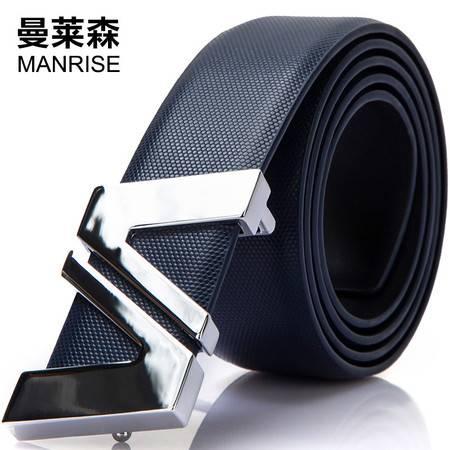 曼莱森/MANRISE 男士皮带真皮牛皮腰带平滑扣商务青年裤带男韩版潮男休闲