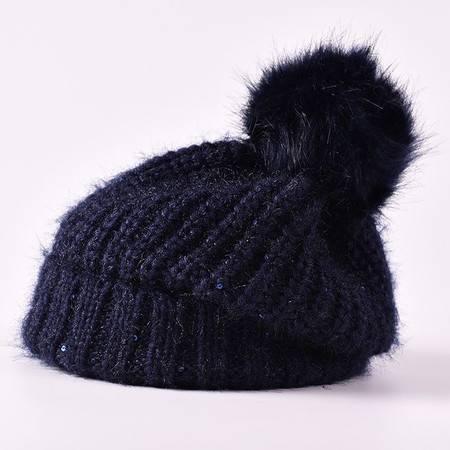 曼莱森/MANRISE毛线帽子女 潮 韩国冬季针织帽加厚护耳套头帽可爱毛球帽子女冬天