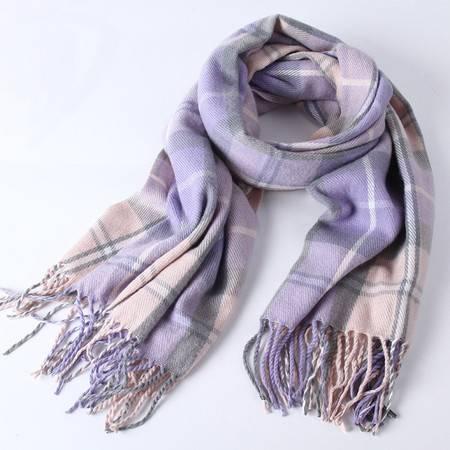 曼莱森/MANRISE 秋冬新款2016两用仿羊绒围巾 加厚款保暖彩格子围巾 女士韩版围巾
