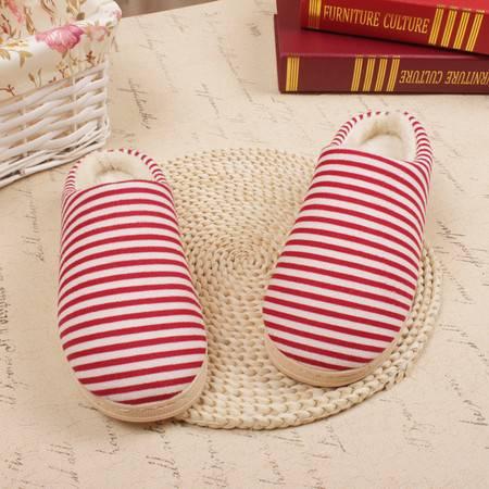 曼莱森/MANRISE 边上线冬季新款居家卡通条纹情侣半包跟保暖月子棉拖鞋 冬季棉鞋