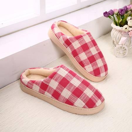 曼莱森/MANRISE 方格棉麻格子冬季家居居家室内木地板防滑冬季棉鞋棉拖鞋月子鞋 女士棉拖鞋