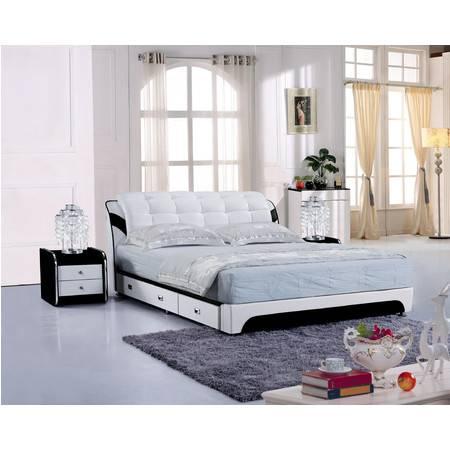 真皮床小户型榻榻米气动储物高箱软体床三抽1.51.8米双人婚庆床