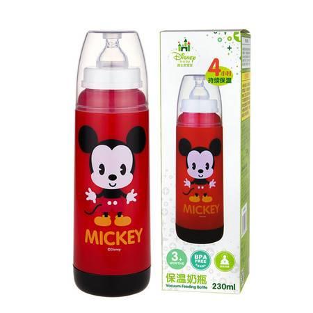 迪士尼/DISNEY双层玻璃内胆保温奶瓶婴儿标口防胀气230ml QF-800M