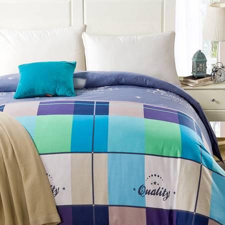 采馨家纺 床上用品三件套美式简约纯棉四件套 全棉学生床单被套