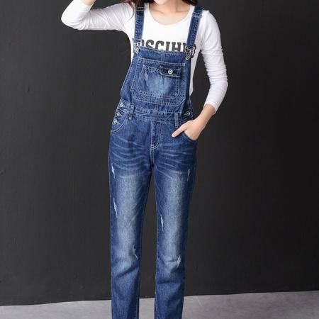 春秋季新款牛仔背带长裤女中学生韩版直筒宽松大码休闲连体吊带裤