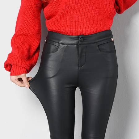 秋冬季pu皮裤女外穿加绒加厚仿皮黑色打底裤高腰小脚裤紧身长裤子
