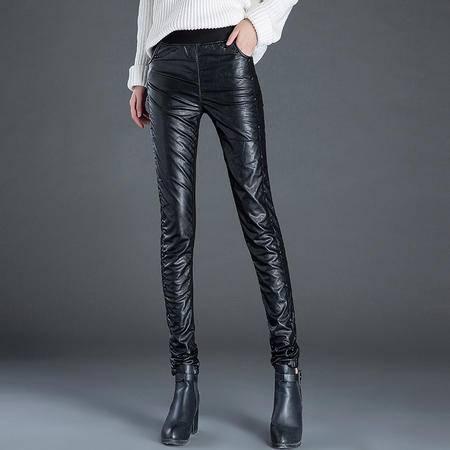 冬季加绒加厚PU皮裤女蕾丝边拼接打底裤外穿带绒保暖小脚铅笔裤子