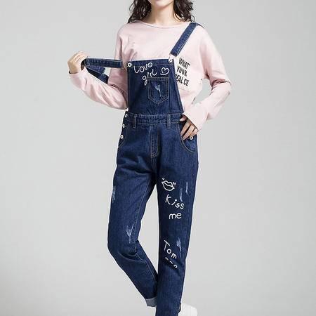 2016秋季韩版牛仔背带裤女长裤小脚修身显瘦连体裤吊带裤弹力学生