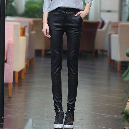 新款皮裤女外穿薄款显瘦秋冬加绒黑色小脚裤亚光PU仿皮涂层打底裤