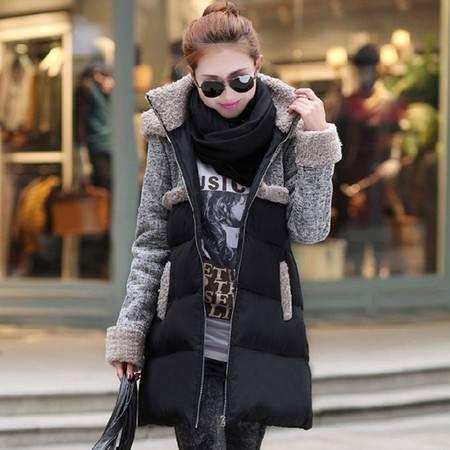 艾米娅 棉衣女中长款2016冬季韩版斗篷大码棉服A字型潮羊羔绒外套