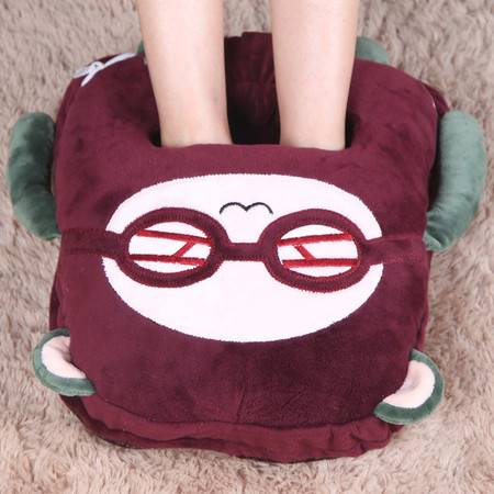 艾米娅 暖脚宝电暖鞋暖脚垫插电暖脚器毛绒卡通保暖鞋热水袋充电防爆