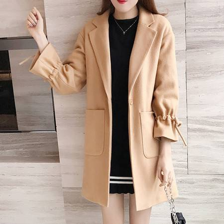艾米娅 2016秋冬新款韩版气质中长款毛呢外套女宽松显瘦茧型呢子大衣加厚