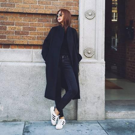 艾米娅 2016冬季新款韩版立领系带过膝毛呢外套女长款宽松羊毛呢子大衣潮
