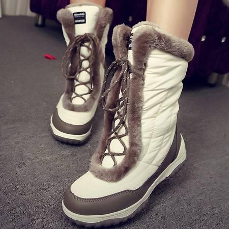 艾米娅 冬季户外雪地靴女中筒加厚防水新款短靴女鞋2016潮加绒棉鞋滑雪鞋