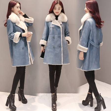 艾米娅 2016新款女装冬装宽松中长款棉衣外套女毛领棉袄羊羔毛双排扣大衣