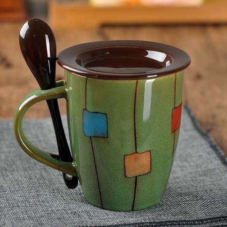 艾米娅 创意鼓型陶瓷杯带盖勺 牛奶杯咖啡杯简约马克杯水杯子