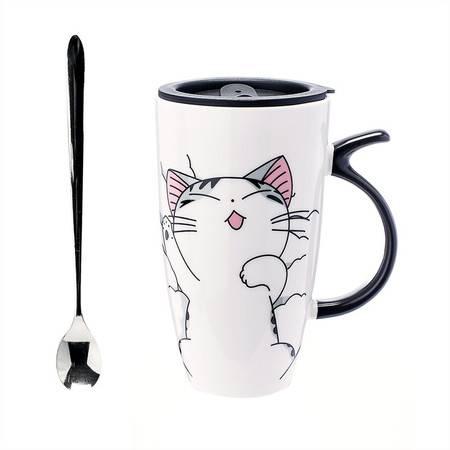 艾米娅 创意大容量喵星人文艺马克杯带盖带勺陶瓷杯子咖啡杯办公水杯