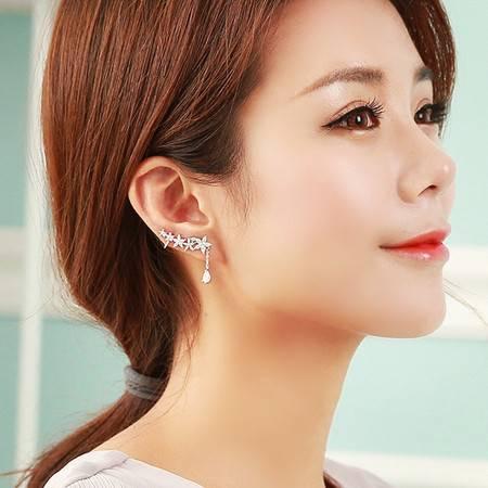 艾米娅 S925纯银耳钉小花气质水钻水滴长款连体小清新耳环耳扣女防过敏