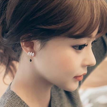 艾米娅 UXUS925银针椭圆形水钻锆石耳钉 送礼品生日礼品韩版气质水滴耳环