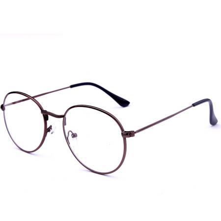艾米娅 韩版学院复古圆形金属全细框平光镜文艺原宿男女可配近视眼镜框架