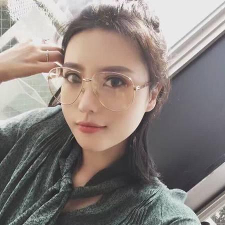 艾米娅 大框网红明星金属眼镜框女圆脸韩版潮复古平光镜防辐射近视眼镜男