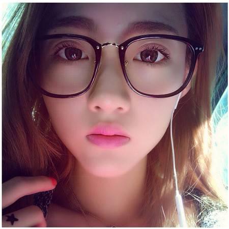 艾米娅 韩版复古潮圆脸眼镜框女大框百搭男士平光镜架可配防辐射近视眼镜