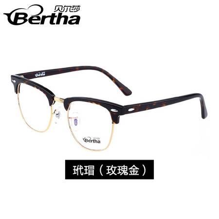 艾米娅 复古黑框近视眼镜框板材防辐射眼镜潮豹纹时尚圆框半框眼镜架男女
