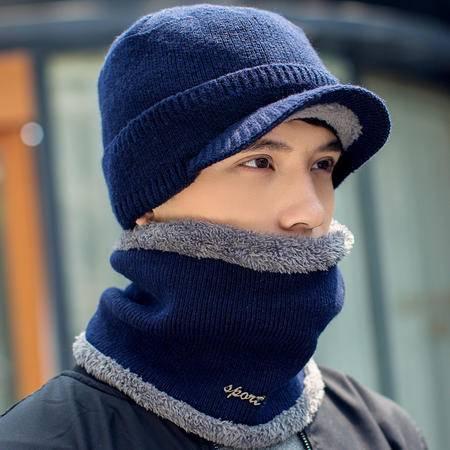 艾米娅 帽子冬天男 韩国 针织套头帽时尚百搭套头帽加绒加厚毛线帽子男士