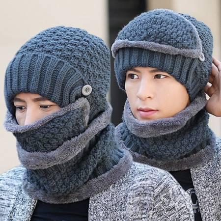 艾米娅 男士套头帽子防风冬季青年户外韩版时尚护耳潮针织毛线帽加绒加厚