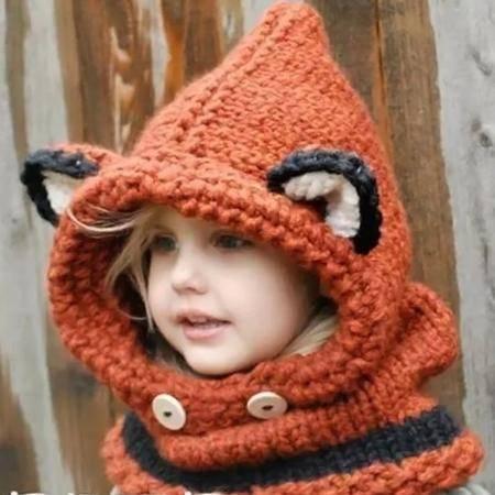 艾米娅 韩版男女儿童毛线帽子秋冬季可爱加厚保暖护耳针织围脖套头帽一体