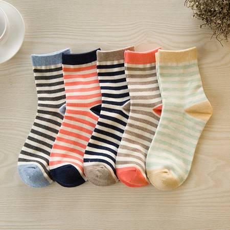 【大鱼】全棉甜美条纹款中筒女袜 5双装 买一送一 包邮(偏远地区除外)