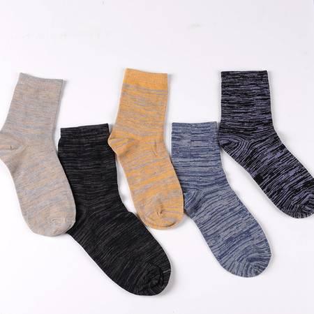 【大鱼】包邮 买一送一 全棉花色棉线多色中筒男袜 5双 混色装(why)