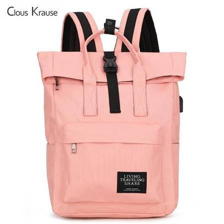 ClousKrause休闲背包潮流旅行双肩包CK-0018 黑色、粉色 双色可选