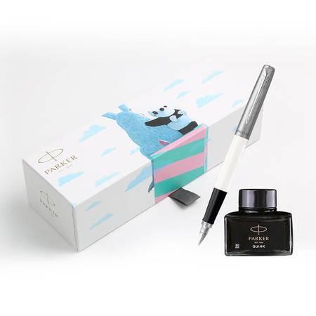 派克(PARKER)IP系列 乔特白色胶杆钢笔/墨水笔+熊猫礼盒